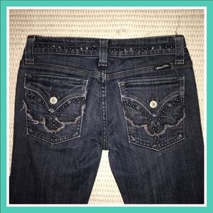 Miss Me Dark Wash Boot Cut Studded Denim Jeans 26